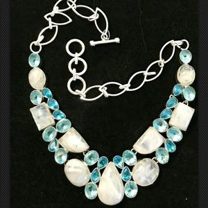 Moonstone, Blue Topaz Gemstone 925 Silver Necklace